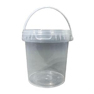 durable small capacity transparent plastic bucket with handle and cover