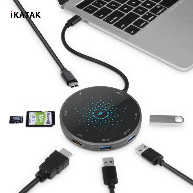 2019 신제품 8 in 1 다중 도킹 스테이션 4 K HD USB3.0 PD 충전 무선 USB 허브