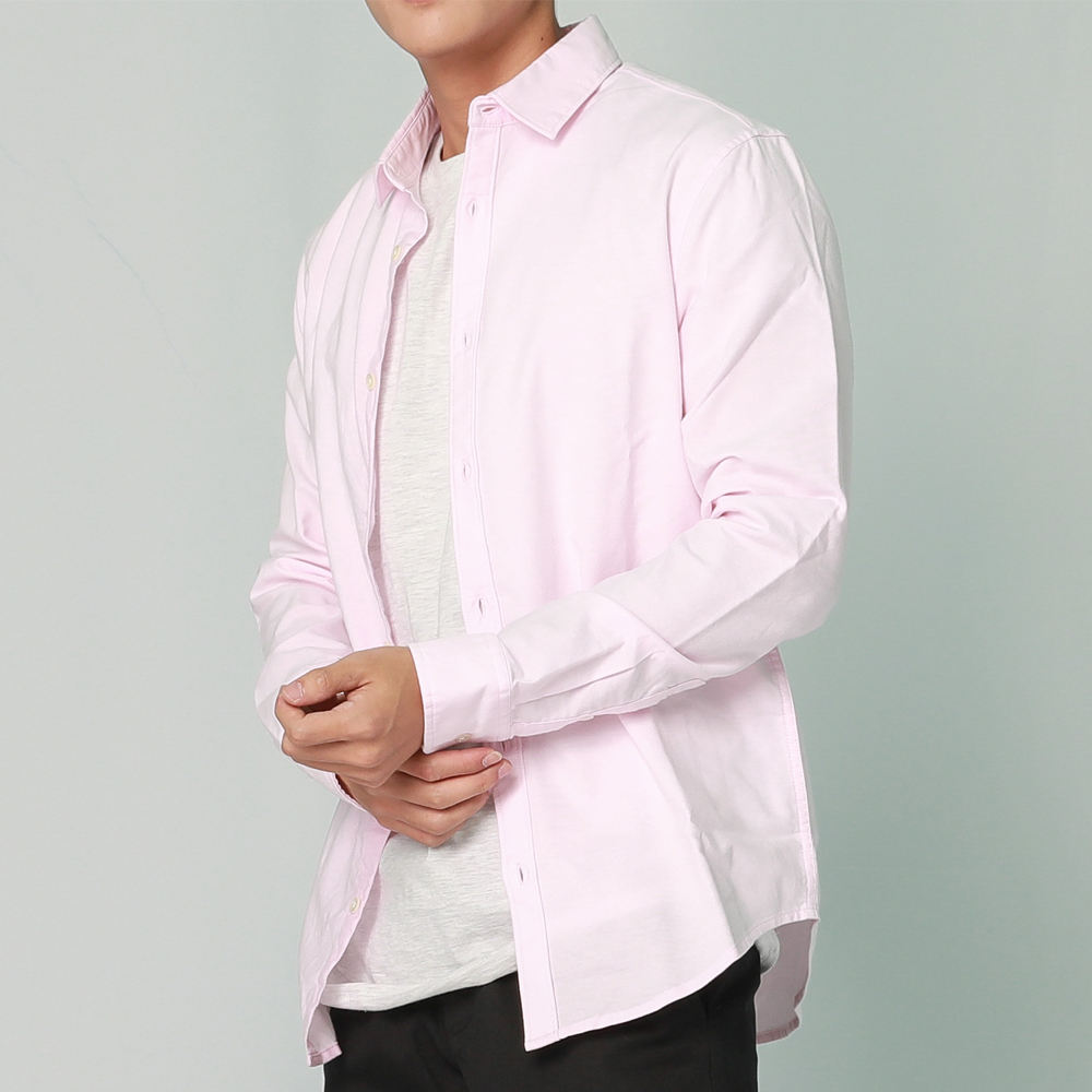 High Quality 100% Cotton Pink Oxford Spring Casual Men'S Long Sleeve Business Shirts
