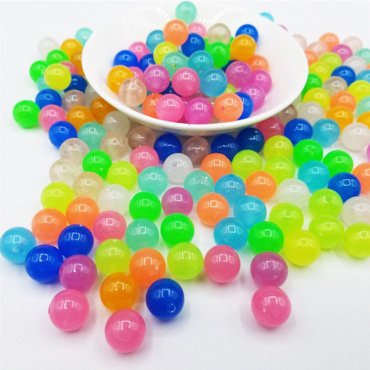 500G/Casing 6 Mm 8 Mm 10 Mm 12 Mm Acrylic Warna Luminous Manik Glow In Gelap Memancing Manik
