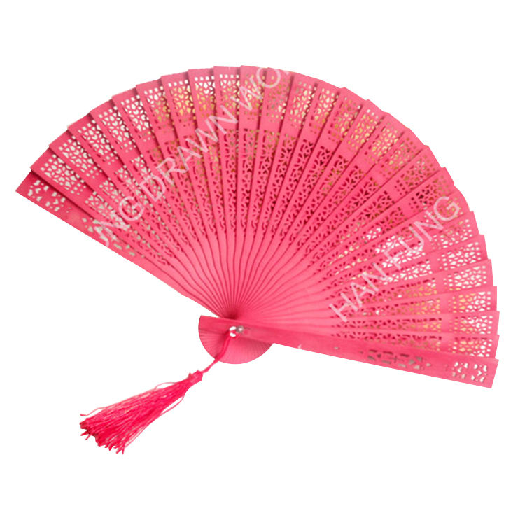 Carved love sandalwood wedding chinese hand fan