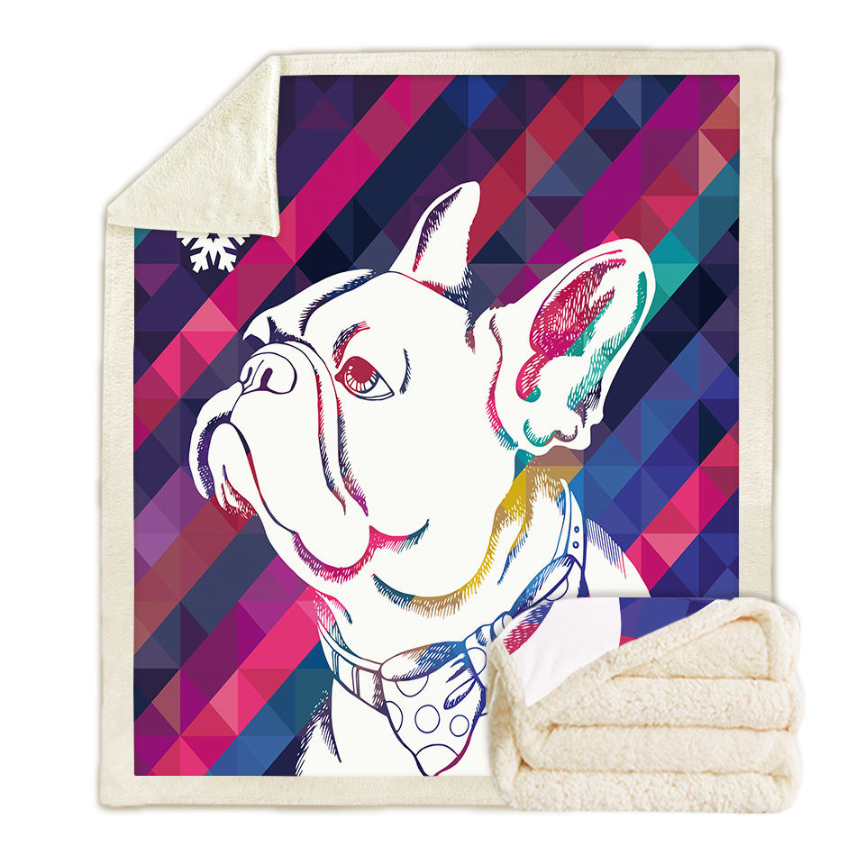 Fashion custom printing sherpa fleece french bull dog blanket for legs