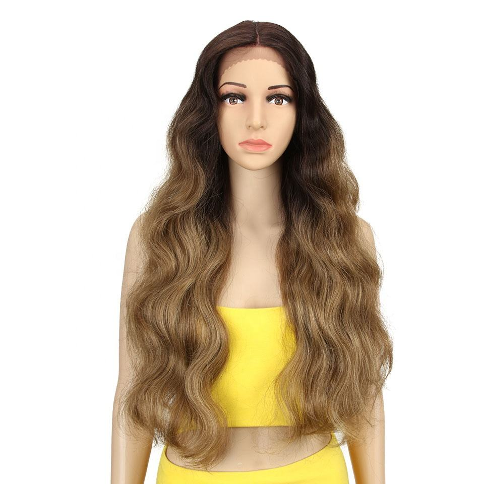 Sleek Cosplay 30 inch Long Wavy Synthetic Lace Front Wig Lace Part Wig For Wome Heat Resistance Synthetic Wigs Lace Front