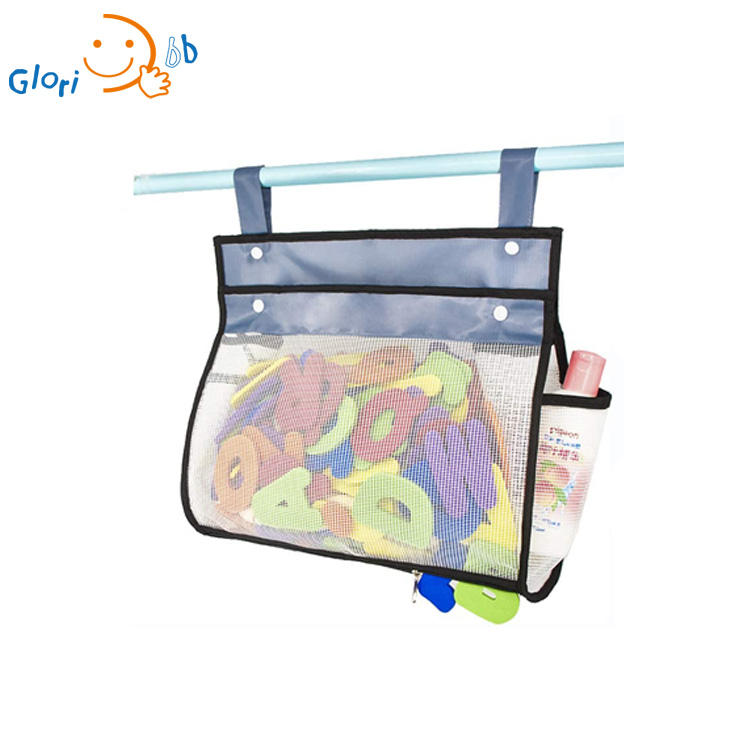 Zippered Design Bath Toy Organizer Quick Dry and Easy Clean PVC Material Mesh Net Kids Bathtub Show Caddy Storage