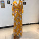 Yellow Casual New Women's Fashionable Yama Printed Printing V-neck Autumn Yellow Dress