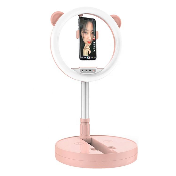 Most Popular Beauty Light Brightness Adjustment Foldable Tray Selfie Light Ring Lamp With Phone Holder Stand