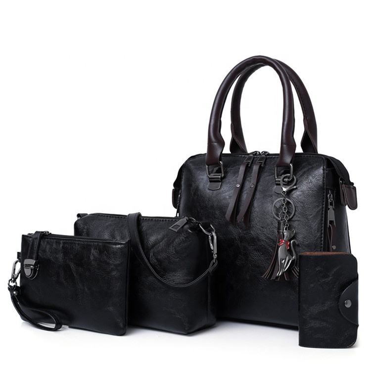 Professional made 4 pieces vintage female handbag, delicate practical handbags for women