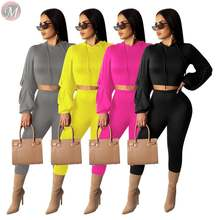 9110523 fashion casual solid wrinkle sleeve hooded tracksuit Fashion Outfits Woman Two Piece Pants Suit Set