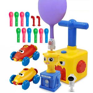 educational science learning toy hand press inertial car air power balloon launcher toy for kids