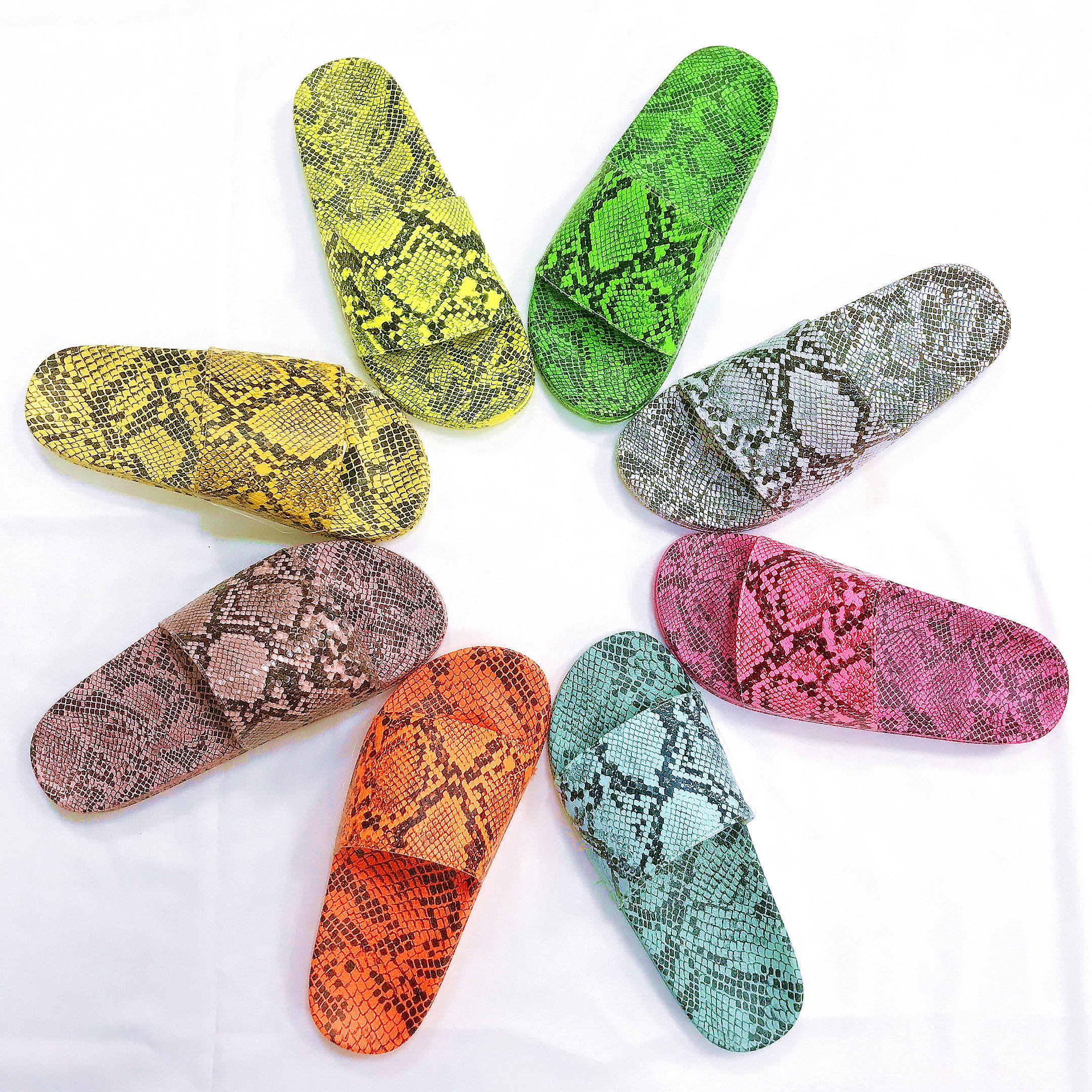 OEM ODM Summer fashion women platform sandals sexy snakeskin slides sandals outdoor slippers