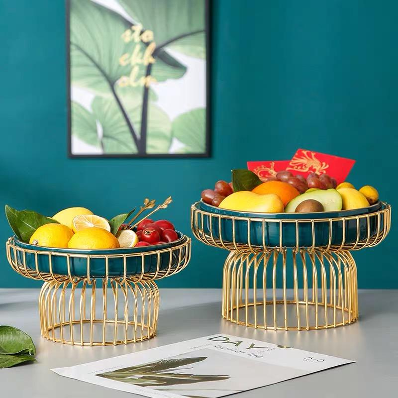 Vintage Style Ceramic Fruit Snack Plate Counter Top Fruit Basket Tray Stand Food Storage Basket Household Decoration