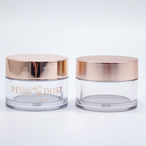 OEM Private Label Wholesale 15g PETG Acrylic Nail Dipping Powder jar with rose gold lid