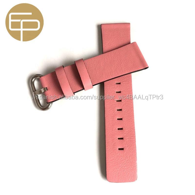 Cuadrado Rosa cola de 12 14 16 18 20 22 24mm cómodo suave napa genuina becerro cuero reloj banda negro con el lado pintado