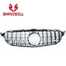 Silver Chrome Front grill GT GTR grille without hole for Mercedes Benz W205 C CLASS  C180 C200 C250 C300 C350 2015 - 2018