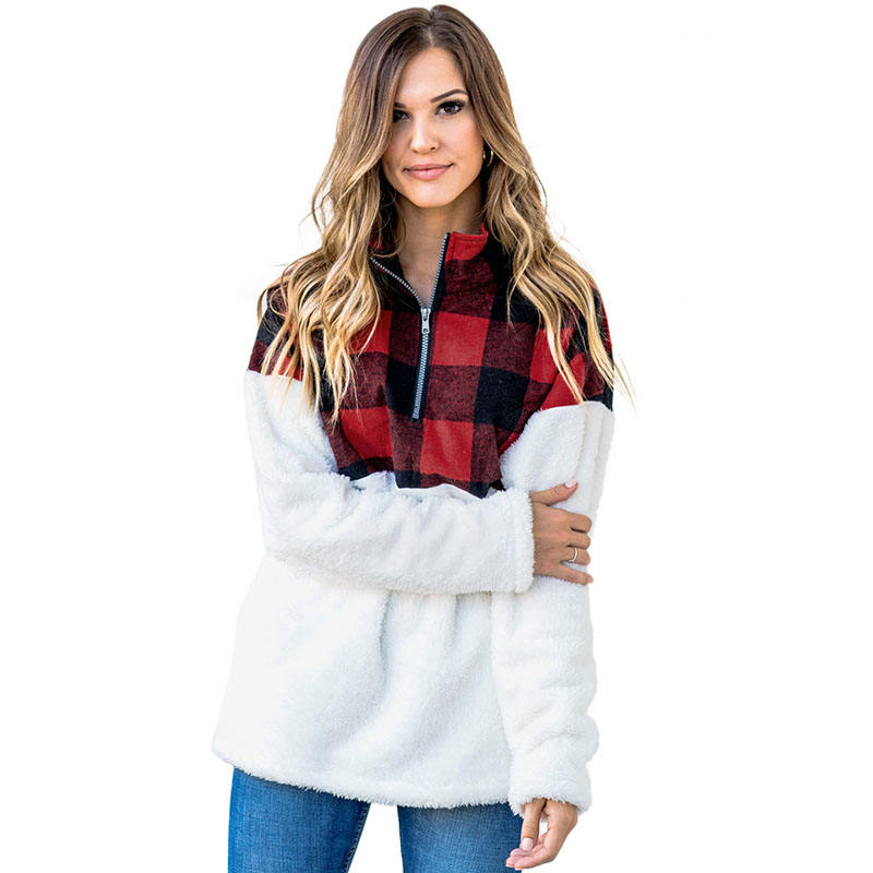 New Arrival Wholesale Fuzzy Plaid Detail Knitted Women Pullover Hoodie