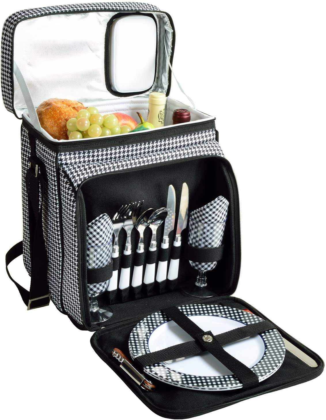 Original Insulated Picnic Basket Equipped with dinner service for 2 person