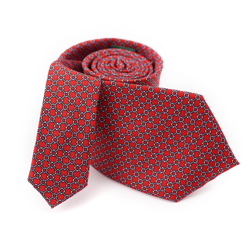 Pretty Checkered Geometric Neck Ties Chinese Red Good Quality Necktie 100% Polyester Custom Made Tie