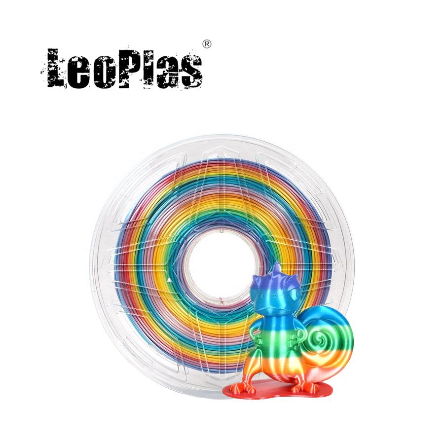 LeoPlas 1kg 1.75mm Shining Metal Rainbow Zijde PLA Filament Voor FDM 3D Printer Pen Verbruiksartikelen Printing Supplies Plastic materiaal