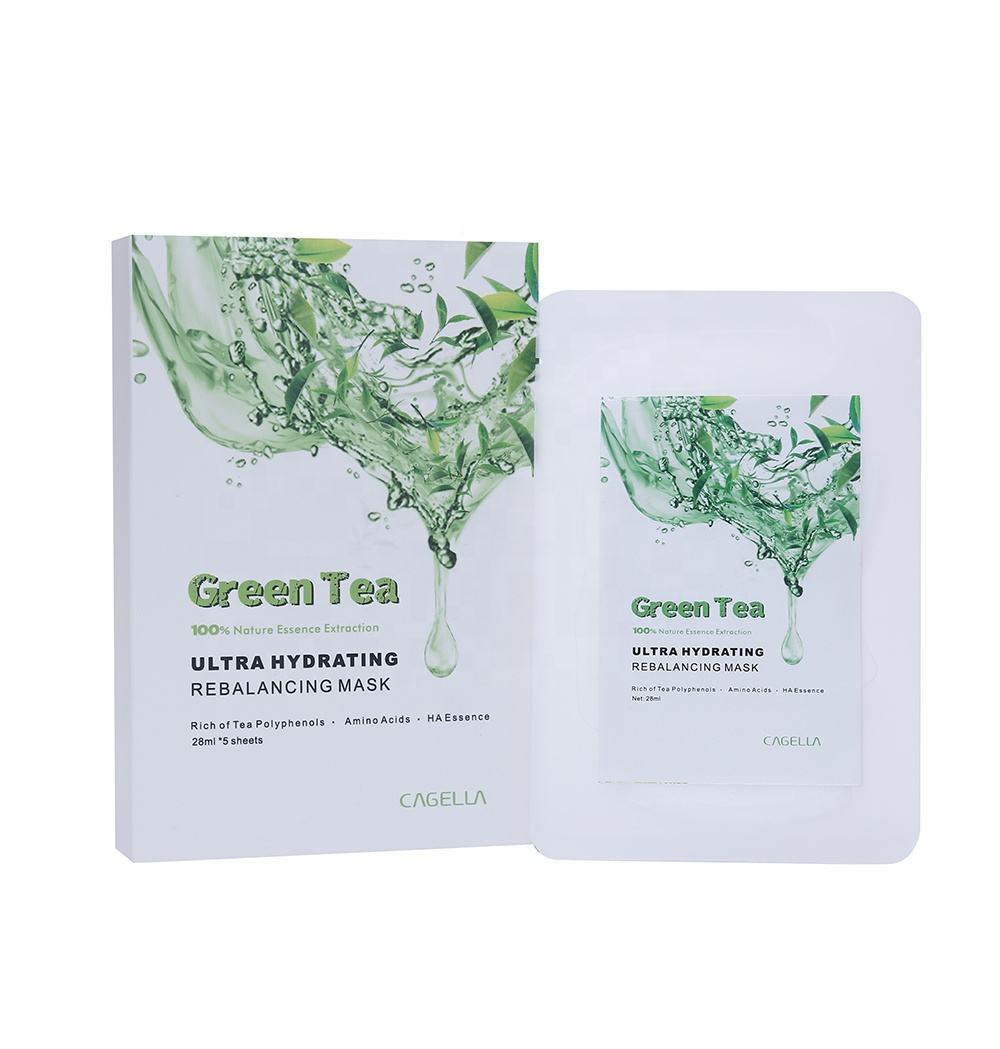Al por mayor de té verde natural eliminar espinillas peca granos cara máscaras para calmar la piel
