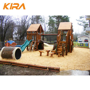 Cheap kindergarten children toy outdoor playground equipment wood kid's slide for outdoor playground