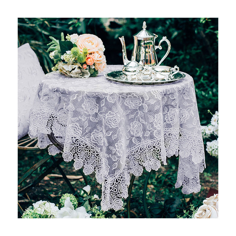 White Embroidery Tablecloth Lace Table Cover for Wedding