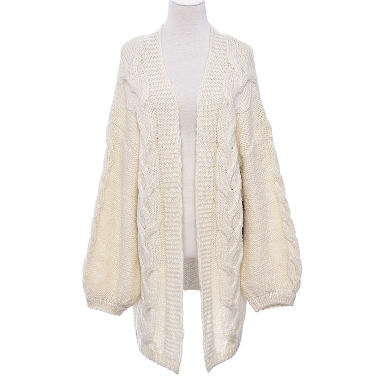 Top quality Winter fashion long cardigan women's sweater with big cable and reverse knit lantern sleeve