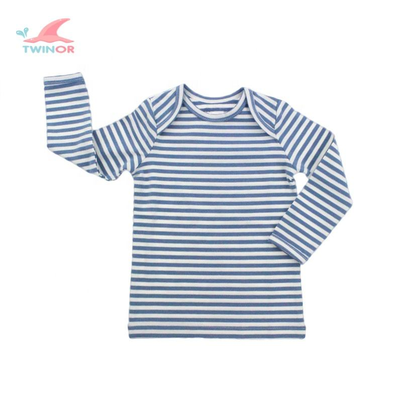 Factory wholesale custom 100% cotton striped baby t-shirt long sleeve baby tee shirts