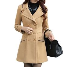 Fashion Korean Hot Women Slim Wool Cashmere Winter Long Hooded Jacket Coat