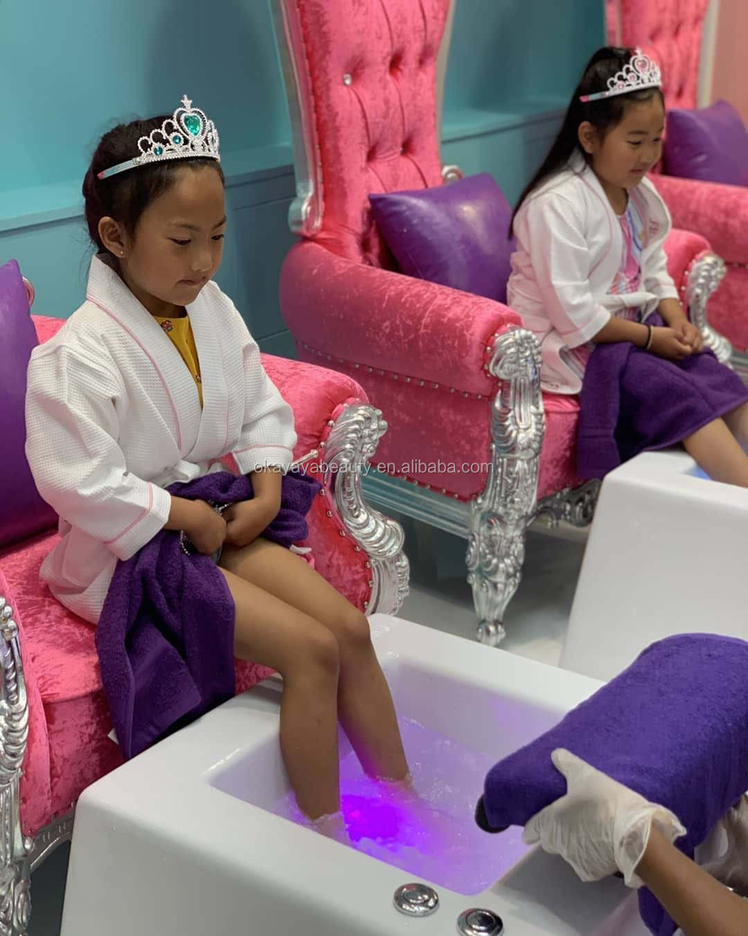 pink velvet spa furniture set nail pedicure station kid pedicure spa chair