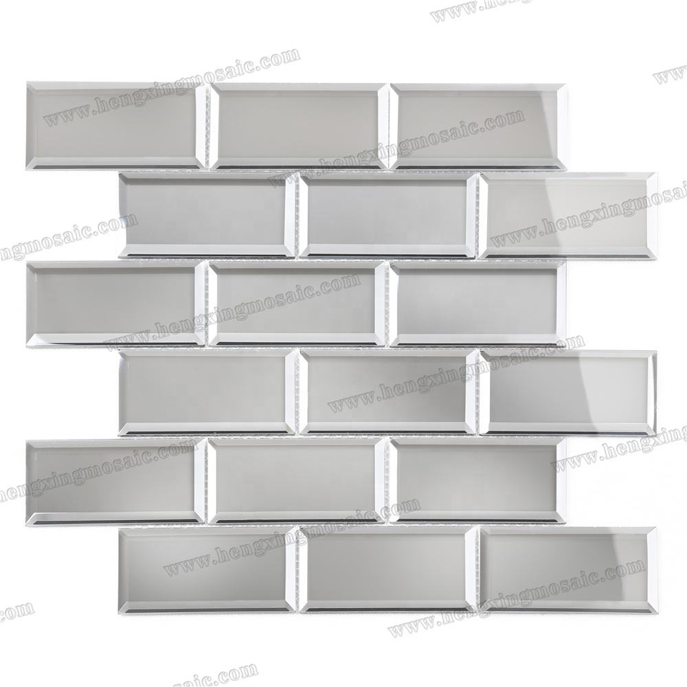 Fashion Grey Beveled Environmental Sliver Decorative Mirror Mosaic Tile for Subway Feature Accent Wall