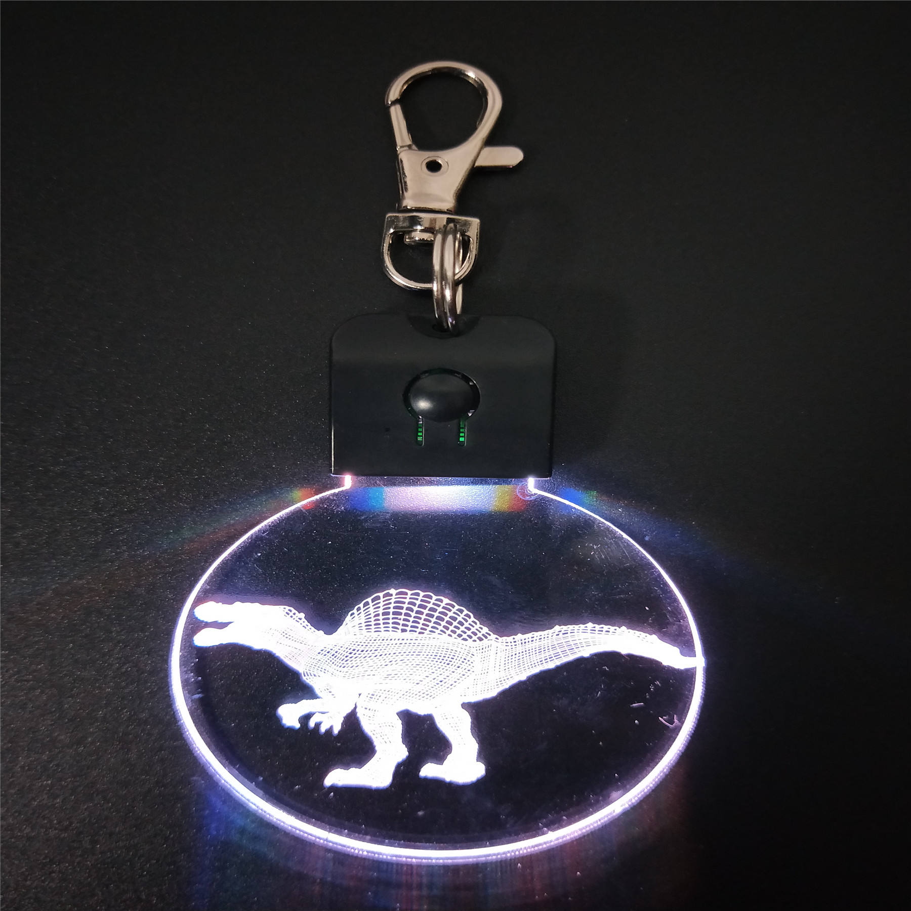 dinosaur crystal keychain acrylic custom logo 3d led key chain plates rgb seven colors led keyring for promotion