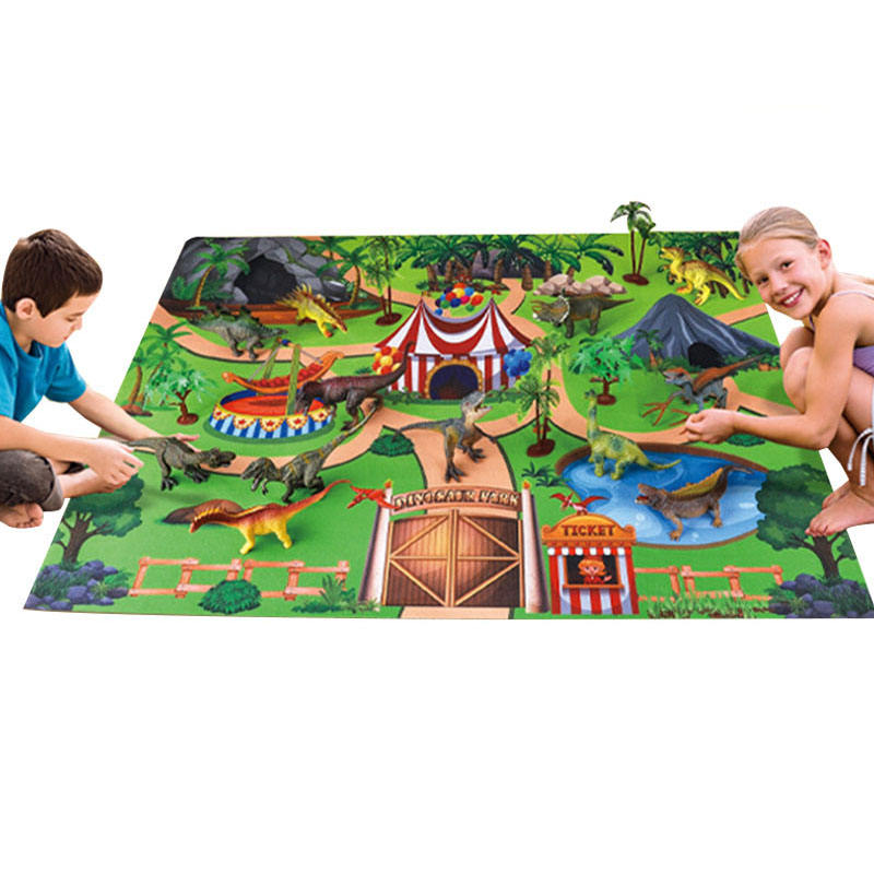 Educational Cartoon Plastic Dinosaur World Toy Play Figure Activity Mat Dinosaur Model Toys Set Indoor Family Play Game