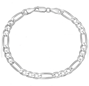Fashion Sterling Silver 925 Hexagon Flat Figaro chain Link Bracelet and Necklace for men