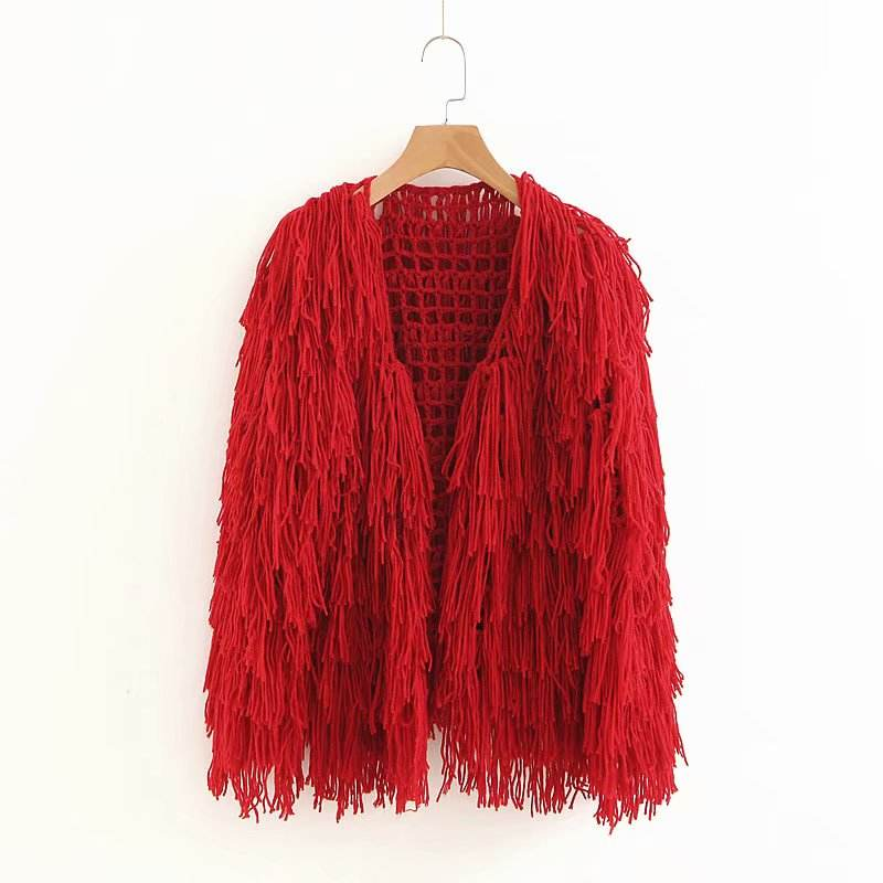 Handmade fringed hollow cardigan blended fabric for womens sweaters