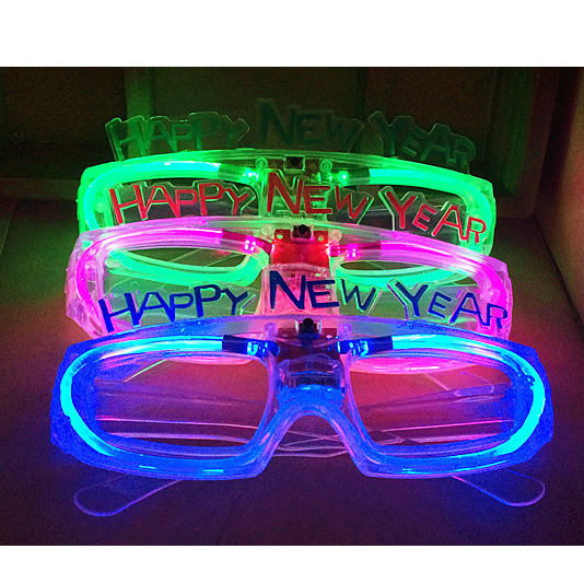High Quality Flashing Party Decoration Happy New Year Led Glasses