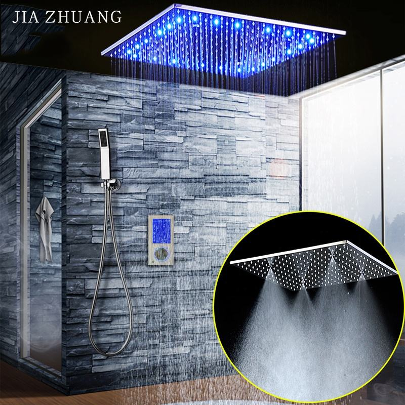 Bathroom Smart Digital Thermostatic Touch Control Panel Led Massage Rainfall Spray Shower Wall Mounted Faucet Shower System
