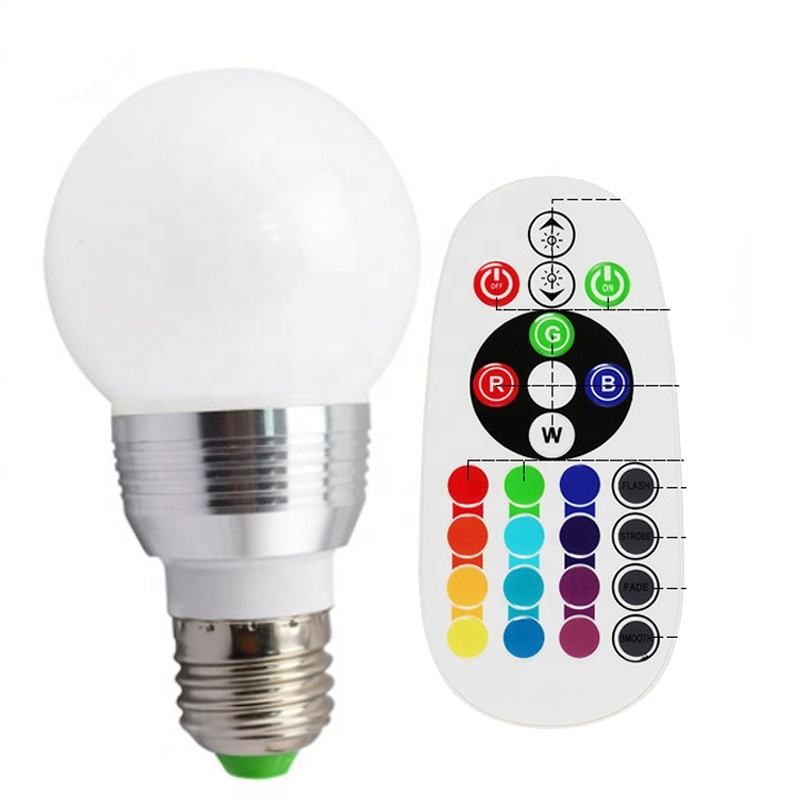 3w screw E14 remote control lamp color changing Led smart bulb 16 Colors rgb e27 led bulb light