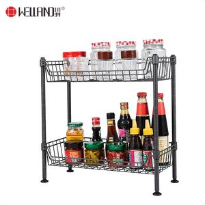 DIY 2 Tiers Mini Wire Basket Rack Storage Of Kitchen Shelf