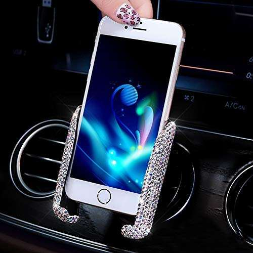 Car Mobile Phone Holder Air Vent Mount Bling Crystal Adjustable Car Phone Stand Holder For Easy View GPS Screen