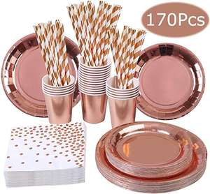 Party Favor Gift 2020 New Birthday Wedding Party Decoration 170 Pieces Rose Gold Party Tableware