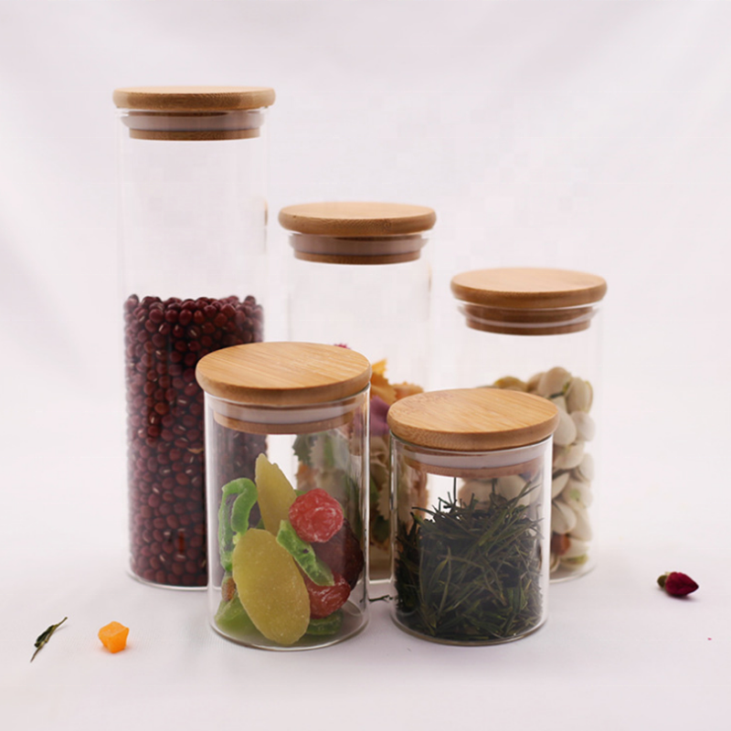 High borosilicate glass jars with bamboo lid glass spice nuts storage jars food grade herb container weed