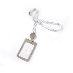 Costom Logo Double-sided Card Plus Lanyard Employee Visiting Card Holder Work Business Card Holder