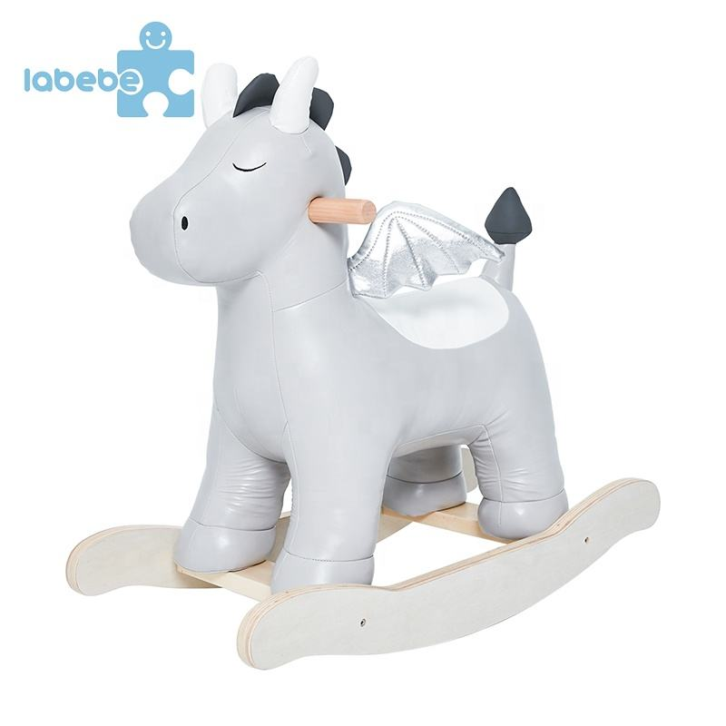 PU hot selling premium ornament wooden walking ride children slide doll toy rocking horses