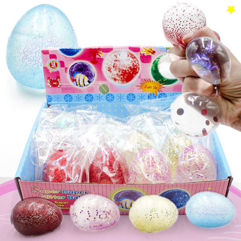 Stress Relief [ Egg Toys ] Splat Ball Toy Glitter Egg Splat Ball TPR Squeeze Stress Relief Ball Stretch Toys For Kids