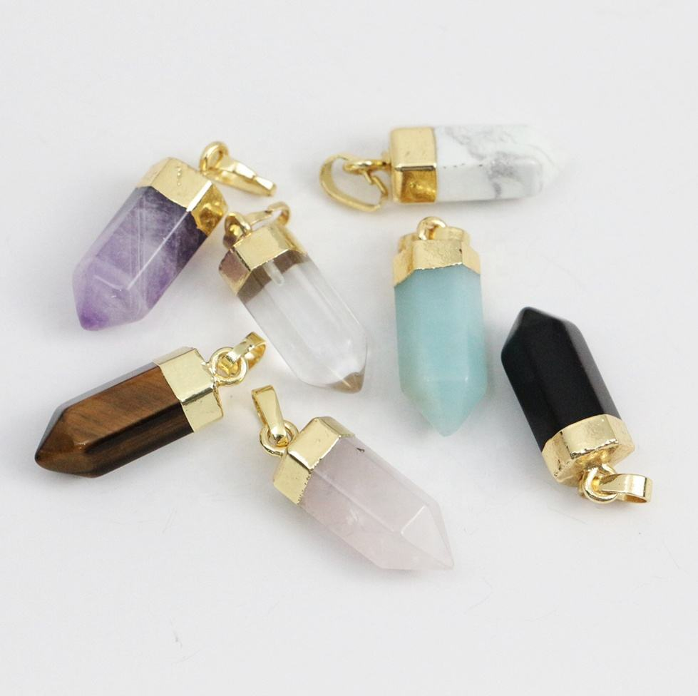 LS-A312 fashion bullet shaped pendant with gold plated natural crystal gemstone tiger eye amethyst charms hot selling jewelry