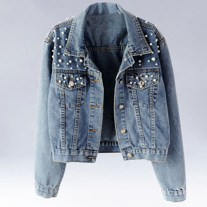 Plus Size Pearl Beading Oversized Denim Jacket Women Casual Bomber Denim Jacket Women Jeans