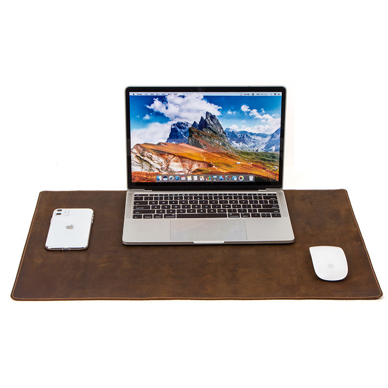 Custom Crazy Horse Leather Laptop Mouse Mat Oversize Anti-slip Office Desktop Computer Protector Genuine Leather Desk Mat Pad