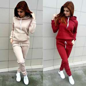 2020 fall women's street wear pullover hoodie with pants cotton fleece sweat suits
