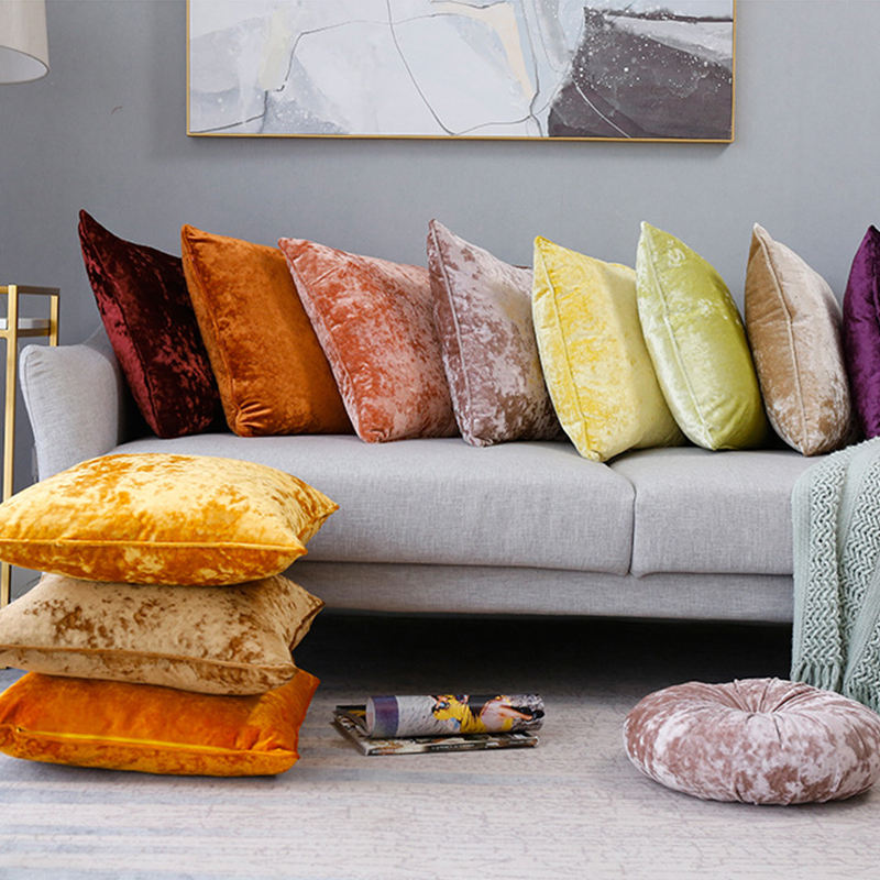Monad Ready Made Colorful Luxury Home Decorative Crushed Velvet Pillows Cushion Cover With Piping