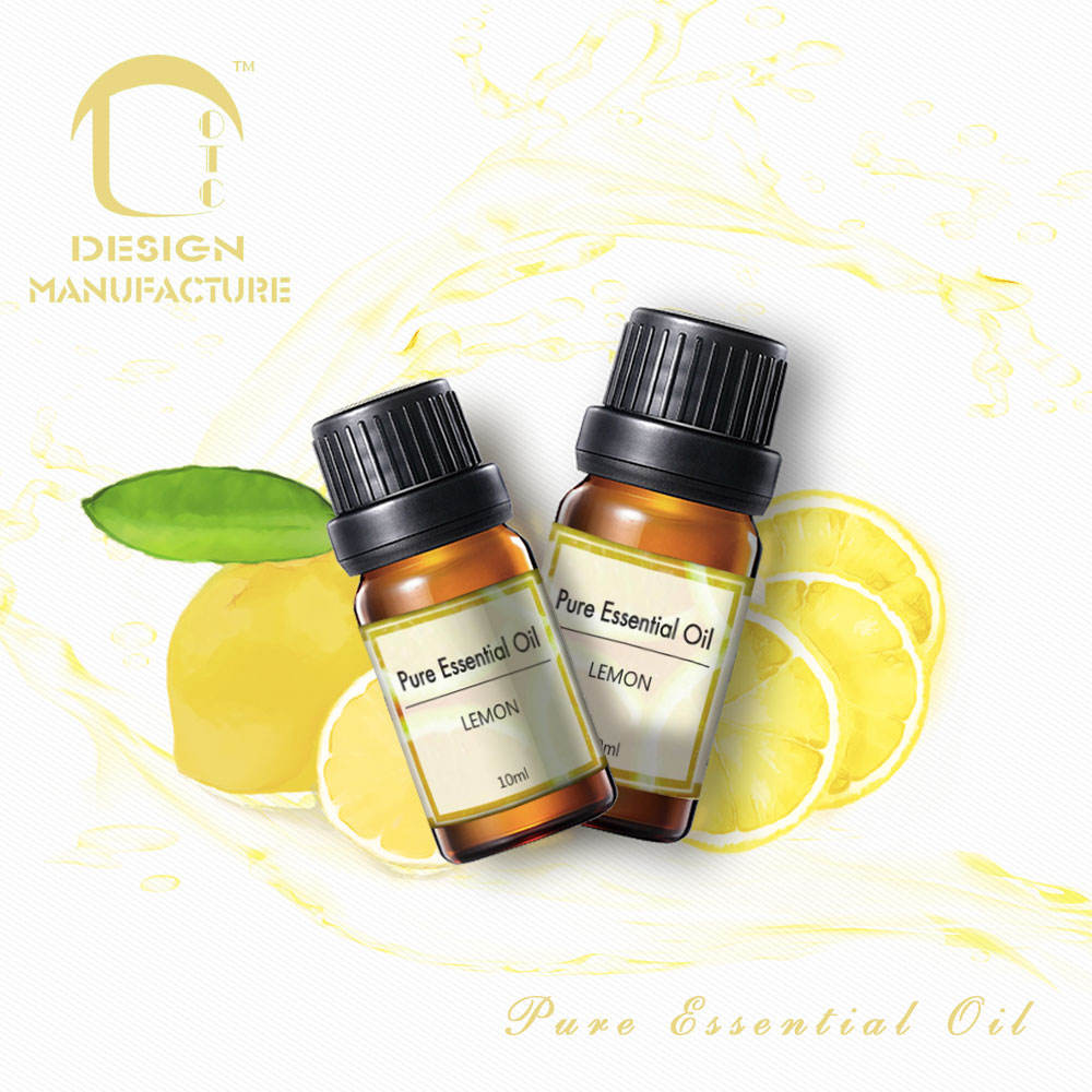 Supplier private label home fresh natural pure lemon 100% essential oil in amber glass bottle for home care